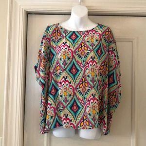 Lilly Pulitzer silk cold shoulder blouse sz M